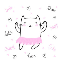 cute hand drawn postcard with funny cat dressed vector image vector image