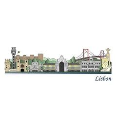 Lisbon skyline colored vector