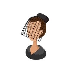 Woman under black veil widow cartoon icon vector image