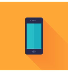 Flat mobile phone over orange vector image vector image