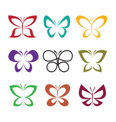 group of butterfly design on white background vector image