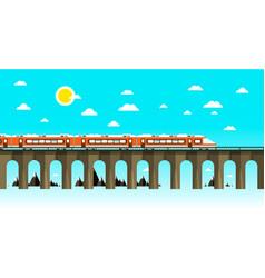 moder train on old bridge over sea flat design vector image
