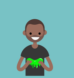 young black character playing with a slime flat vector image