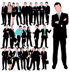25 business people silhouettes set vector image vector image