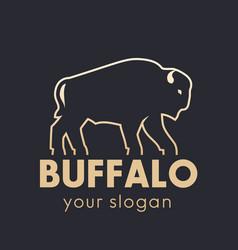 buffalo logo element gold outline vector image
