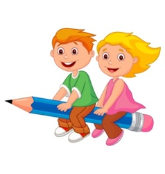 Cartoon boy and girl flying on a pencil vector image