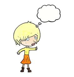 Cartoon woman raising eyebrow with thought bubble vector