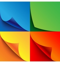 Set of curled colorful paper page corners with vector image