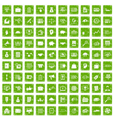 100 business process icons set grunge green vector image
