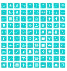 100 medical care icons set grunge blue vector