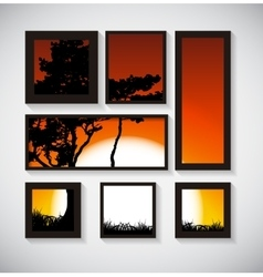Abstract Gallery Background with Silhouette of vector