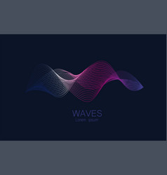 abstract waves lines gradient colors vector image