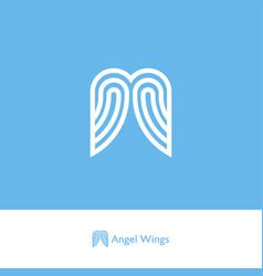 Angel wings logo ribbon strip care charity vector