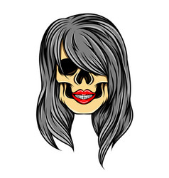 artwork simple women skull with the vector image