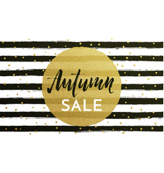 Autumn sale shopping discount poster fall gold vector