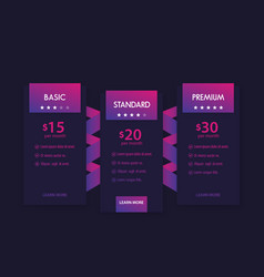 Banners for tariffs pricing tables vector