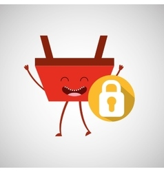 Basket red commerce padlock icon vector