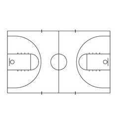 basketball court sport background line art style vector image