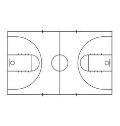 Basketball court sport background line art style vector