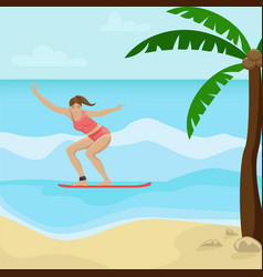 beach landscape with palm trees girl surfing vector image