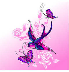 Bird swallow and butterflys vector