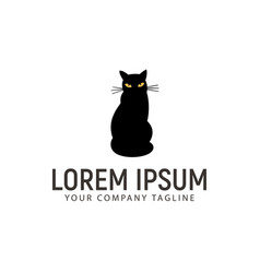 black cat logo design concept template vector image