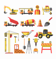 Building and construction icons set vector