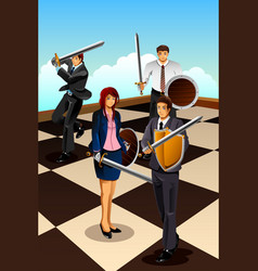 business people fighting as knight vector image