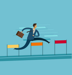 businessman jumping over hurdle goal achievement vector image