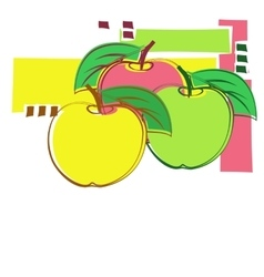 Card with decorative apples vector
