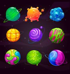 Cartoon colorful slime planets set fantasy alien vector