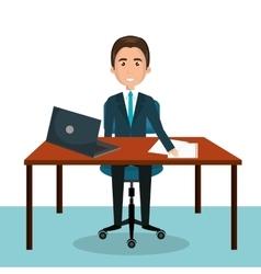 cartoon man worker on computer desktop sitting vector image