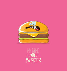cartoon tiny burger character with cheese vector image