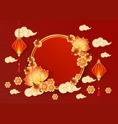 chinese new year banner with red lanterns and vector image