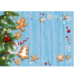 christmas blue festive template vector image