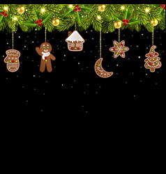 christmas tree garland with gingerbread vector image
