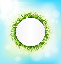 Circle frame with green grass chamomiles and vector image