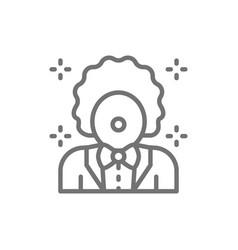 clown animator in circus line icon vector image