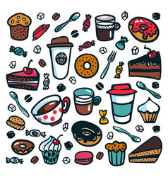 Coffee background colorful doodle style cartoon vector