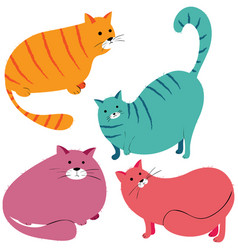 collection of funny fat cats vector image