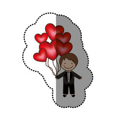 color bridegroom with red heart balloons in his vector image