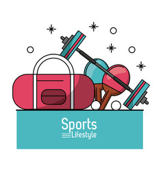 Colorful poster of sports lifestyle with briefcase vector