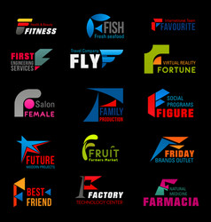 Corporate identity f modern abstract icons vector