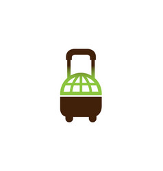 creative suitcase travel world symbol air logo vector image
