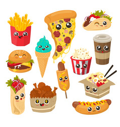cute and funny fast food character set flat vector image