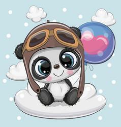 cute cartoon panda boy with balloon vector image