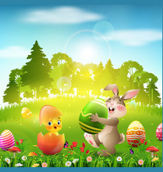 cute easter bunny holding an egg with little chick vector image