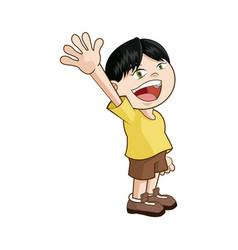 Cute funny boy child happy image vector