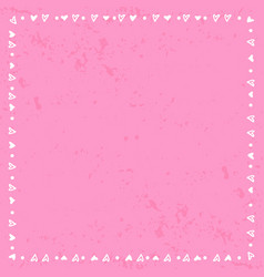 decorative square frame of hearts and dots on pink vector image