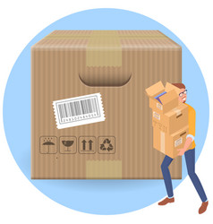 delivery man with parcell cartboard boxes vector image